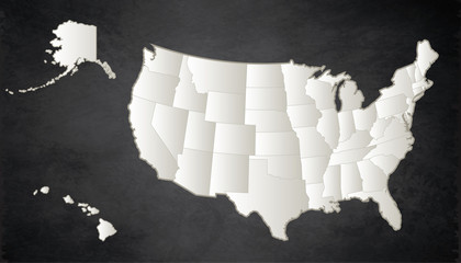 USA map with Alaska and Hawaii map Black White separate states individual blank blackboard raster