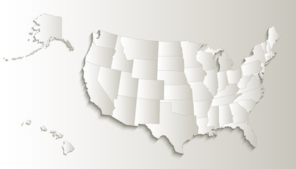 USA map with Alaska and Hawaii map separate states individual blank card paper 3D natural raster