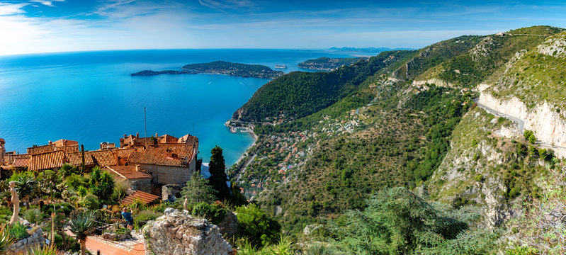 Panoramic view of French Riviera from Eze village in summer season, surroundings and the French coast