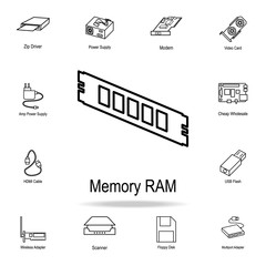 PC memory RAM icon. Detailed set of computer part icons. Premium graphic design. One of the collection icons for websites, web design, mobile app