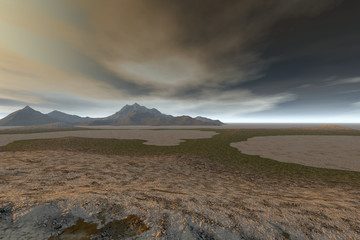 Desert, a rocky landscape, dry ground, a dark mountain and a cloudy sky.