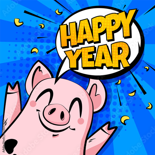 happy new year banner with cute pig and text cloud on blue background greeting card