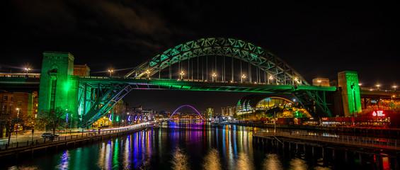 Newcastle Upon Tyne at night Quayside Tyne Bridge