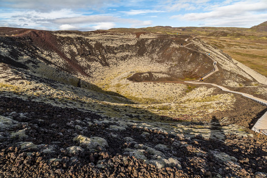 Grabrok volcano crater, ring road, Iceland
