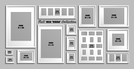 Full collection of IKEA Ribba photo frames. Real sizes. Vector set of white picture frames with passepartout