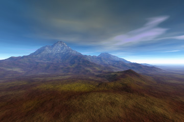 Mountain, a deserted landscape, grass on the ground, and  clouds in the sky.