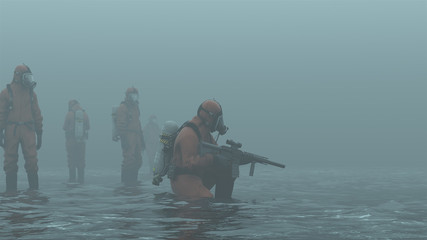 Group of Men in Hazmat Suits Exploring in Watery Wasteland  in a Foggy Overcast 3d Illustration 3d render