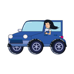 woman driver jeep avatar character