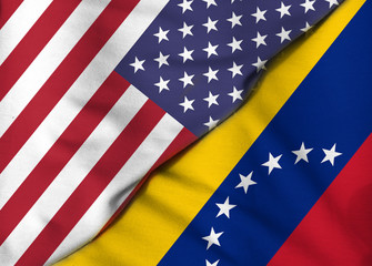 Two Flags. United States. Bolivarian Republic of Venezuela.