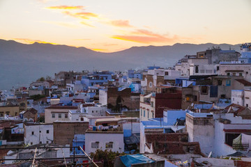 """Africa, North Africa, Chefchaouen, """"The Blue City"""", situated in the heart of Morocco's Rif Mountains and located in northeastern Morocco near the Mediterranean Sea."""