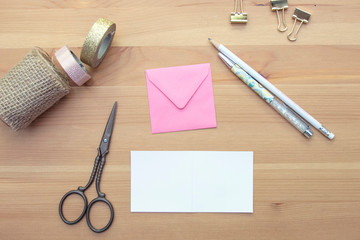 christmas or birthday  wrapping  on white background with scissors and ribbon