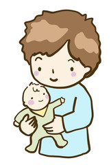ベクター パパと赤ちゃん 泣き止む