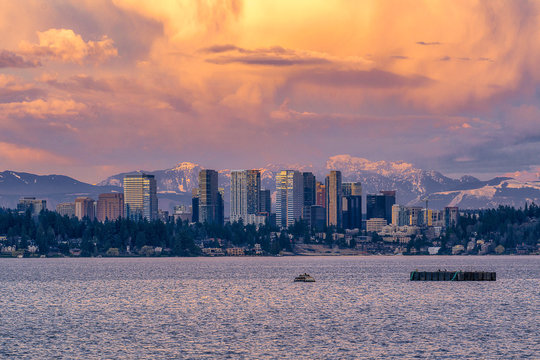 Bellevue Skyline at sunset