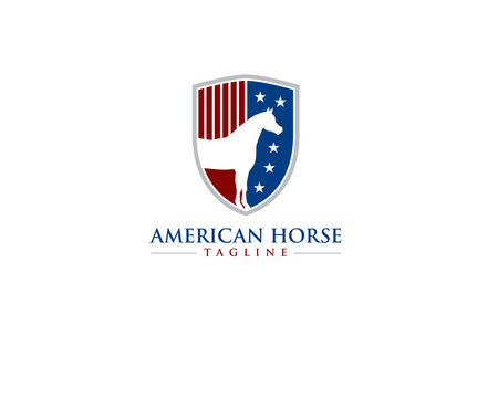 american flag stripes and star with horse or equine on crest or shield