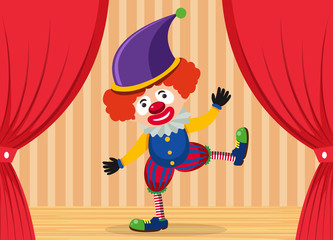 A clown showing on stage