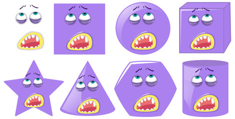 Set of monster face expression