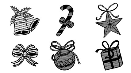Set of lace christmas ornament silhouette on white background.Black and white sticker vector by hand drawing