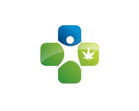 mediacl figure cross logo with marijuana hemp inside