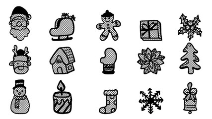 Set of christmas ornament lace vector on white background.Black and white sticker by hand drawing.