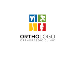 four colorful little square of human bone joints for chiropractic and orthopedic clinic logo