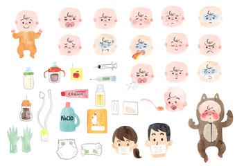病気の赤ちゃんと赤ちゃん用品のイラスト