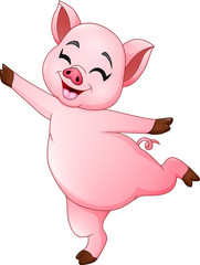 Cartoon little pig dancing