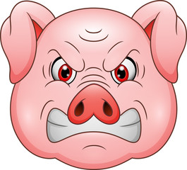 Angry pig head cartoon mascot