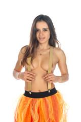 Brunette in a tulle skirt