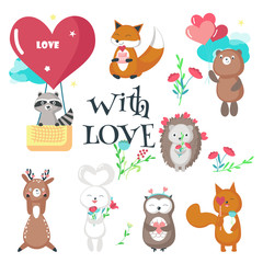 Cute animals in love vector isolated illustration