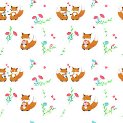 Vector seamless pattern with cute foxes in love