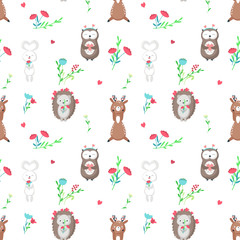Vector seamless pattern with cute animals in love
