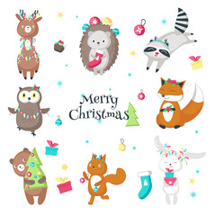 Cute funny christmas animals vector isolated illustration
