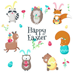 Cute funny Easter animals vector isolated illustration