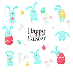 Cute Easter rabbits with eggs vector isolated illustration