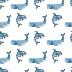 Whale orca pattern polygonal style seamless pattern