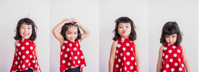 Set of kid portrait of face expression. smile, laugh, sad and angry concept.