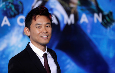 "Director Wan poses at the premiere for ""Aquaman"" in Los Angeles"