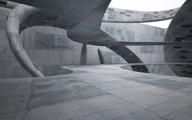 Empty dark abstract concrete smooth interior . Architectural background. 3D illustration and rendering