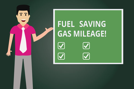 Text sign showing Fuel Saving Gas Mileage. Conceptual photo Expending less money in vehicle expenses gas savings Man with Tie Standing Talking Presenting Blank Color Square Board photo