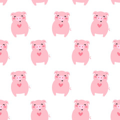 Vector seamless pattern for Valentine's day. Cute pink pig. Doodle style, cartoon background