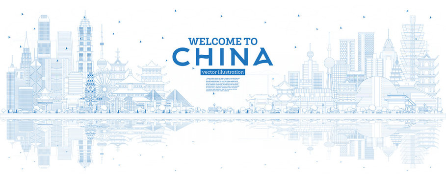 Outline China Skyline with Blue Buildings and Reflections.