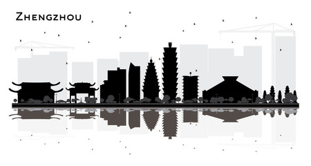 Zhengzhou China City Skyline Silhouette with Black Buildings and Reflections Isolated on White.
