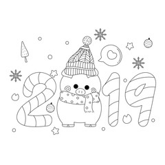 2019 new years card with pig. Vector illustration. Hand drawn. Doodle style.