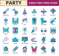 Celebration & party Two Tone icon set