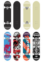 skateboard vector template illustration set (with backside design collection)
