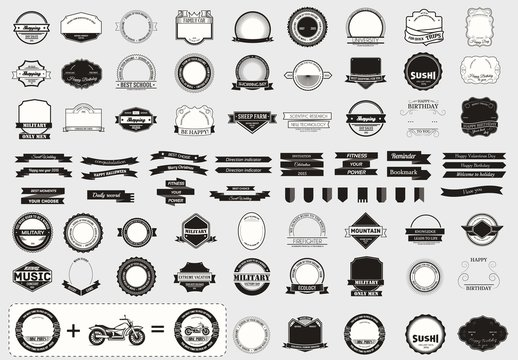 Make your labels or Logotypes concept set. Retro typography, badges, logos, borders, ribbons, emblem, stamp, and objects. Vector design templates.