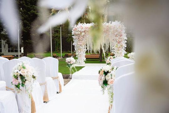 wedding ceremony decoration, beautiful fresh wedding arch