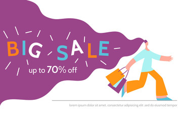 Woman offers big sale season poster.Online shopping,discount, commercial message concept