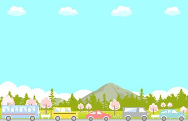 ドライブ 渋滞 春 桜