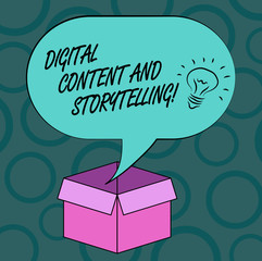 Writing note showing Digital Content And Storytelling. Business photo showcasing Marketing advertising optimization strategy Idea icon Inside Blank Halftone Speech Bubble Over an Open Carton Box